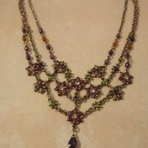 Shades Of Purple Tiny Flowers Statement Necklace